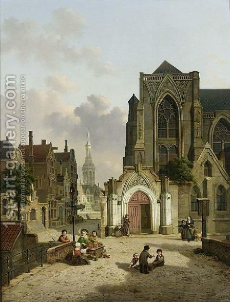 Street Vendors In Front Of A Church by Jan Hendrik Verheyen - Reproduction Oil Painting