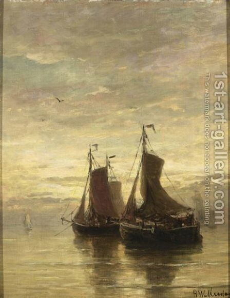 Anchored Fishingboats At Dusk by Hendrik Willem Mesdag - Reproduction Oil Painting