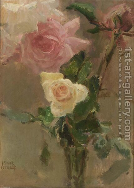 A Flower Still Life With A Pink And Yellow Rose by Isaac Israels - Reproduction Oil Painting