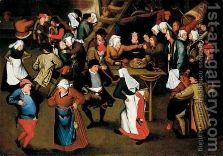 A Wedding Feast In An Interior by (after) Pieter The Younger Brueghel - Reproduction Oil Painting