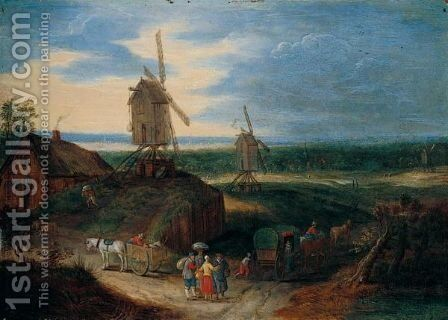 An Open Landscape With Travellers Conversing Before A Windmill by (after) Jan The Elder Brueghel - Reproduction Oil Painting