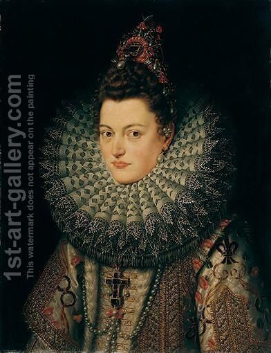 Portrait Of Archduchess Isabella Clara Eugenia Of Austria (1566 - 1633) by Frans, the Younger Pourbus - Reproduction Oil Painting