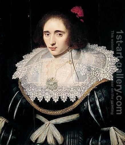 Portrait Of A Lady, Said To Be Elizabeth, Queen Of Bohemia, Wearing A Black Dress With An Elaborate Lace Ruff, And A Red Flower In Her Hair by (after) Michiel Jansz. Van Miereveldt - Reproduction Oil Painting