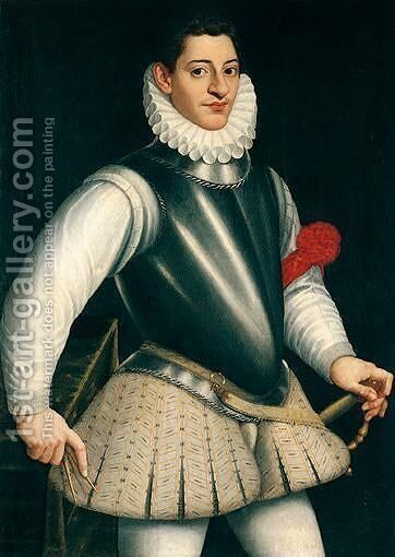 Portrait Of A Gentleman, Three-Quarter Length Standing, Wearing Armour And A Ruff, A Red Ribbon Tied To His Left Arm by (after)  Giovanni Battista (Il Malosso) Trotti - Reproduction Oil Painting