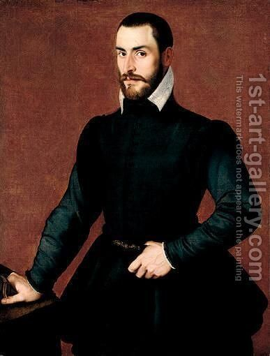 Portrait Of A Gentleman, Three-Quarter Length, Standing, Wearing Black, Holding A Glove In His Right Hand And Resting On A Table by (after) Bartolomeo Passerotti - Reproduction Oil Painting