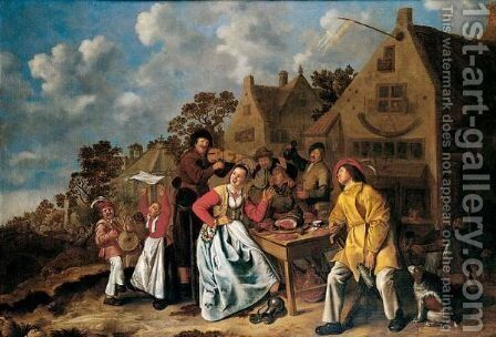 Peasants Feasting And Playing Music Outside A Tavern by Jan Miense Molenaer - Reproduction Oil Painting