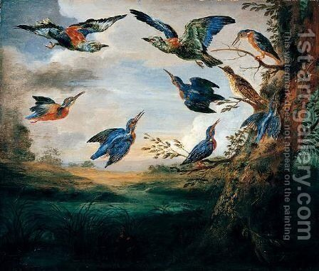 Kingfishers And Rollers In Flight In A River Landscape by (after) Jan Van Kessel I - Reproduction Oil Painting