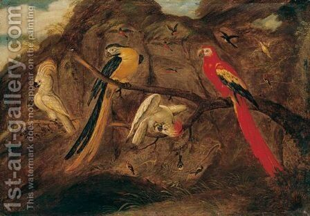 A Scarlet And Blue And Gold Macaw With Sulphur-Crested Cockatoos And Other Birds, In A Landscape by (after) Roelandt Jacobsz Savery - Reproduction Oil Painting