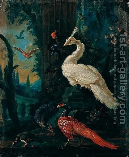 A Peacock, A Peahen, A Pheasant And Other Exotic Birds In An Ornamental Landscape by (after) Abraham Bisschop - Reproduction Oil Painting