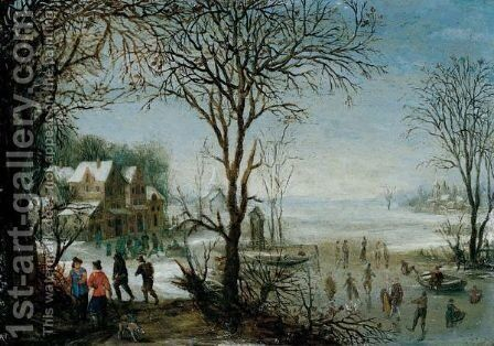 Winter Landscape With Sportsmen And Skaters Near A Village by Denys Van Alsloot - Reproduction Oil Painting