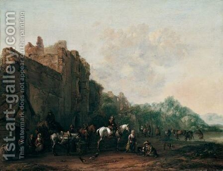 Travellers And Pack Animals Resting Before A Ruined Building, A Drover Watering His Cattle Beyond by Barend Gael or Gaal - Reproduction Oil Painting