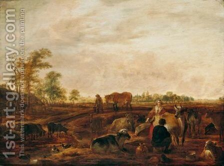 A Landscape With A Milkmaid And Man Milking A Cow Near Farm Buildings, A Man Leading A Horse On A Track Nearby, A Church And Windmill In The Distance by Cornelis Saftleven - Reproduction Oil Painting