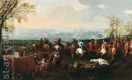 Prince Eugene Of Savoy And The Imperial Army At The Siege Of A City by (after) Christian Reder - Reproduction Oil Painting