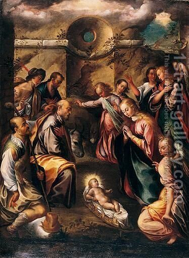 The Adoration Of The Shepherds by Girolamo Imparato - Reproduction Oil Painting