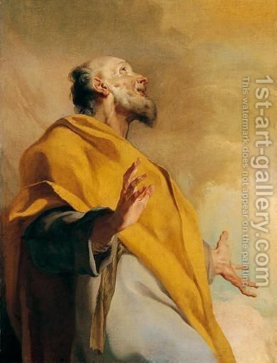 A Male Saint Or Prophet, Possibly Saint Peter by Giuseppe Antonio Petrini - Reproduction Oil Painting