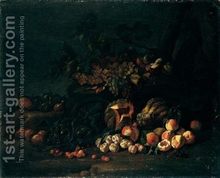 A Still Life With Watermelons, Peaches, Grapes, Cherries And Other Fruits by Neapolitan School - Reproduction Oil Painting