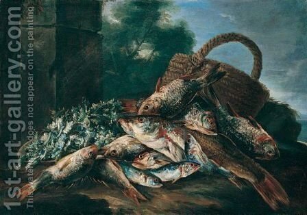 Still Life Of Fish, A Wicker Basket And Celeriac In A River Landscape by (after) Nicola Maria Recco - Reproduction Oil Painting