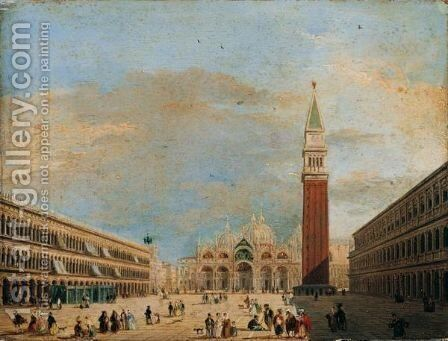 Venice, A View Of The Piazza San Marco Looking East Towards The Basilica by Giuseppe Bernardino Bison - Reproduction Oil Painting