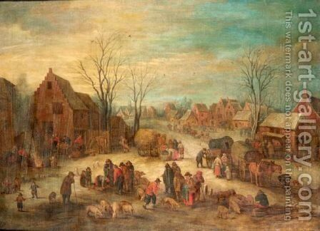 A Crowded Village Scene by (after) Theobald Michau - Reproduction Oil Painting