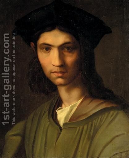 Portrait Of A Man, Head And Shoulders, Wearing A Green Jacket And A Black Hat, Said To Be Baccio Bandinelli by (after) Andrea Del Sarto - Reproduction Oil Painting
