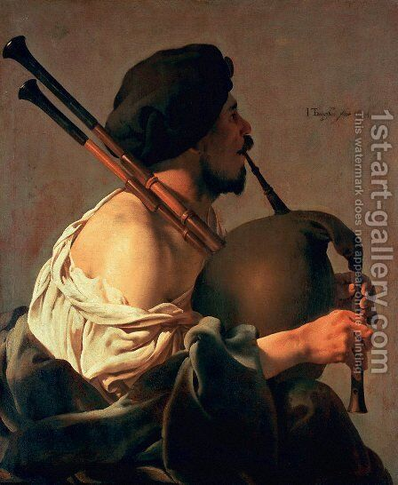 Bagpipe Player 1624 by Hendrick Terbrugghen - Reproduction Oil Painting