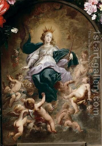 The Virgin As Queen Of Heaven by Cornelius I Schut - Reproduction Oil Painting