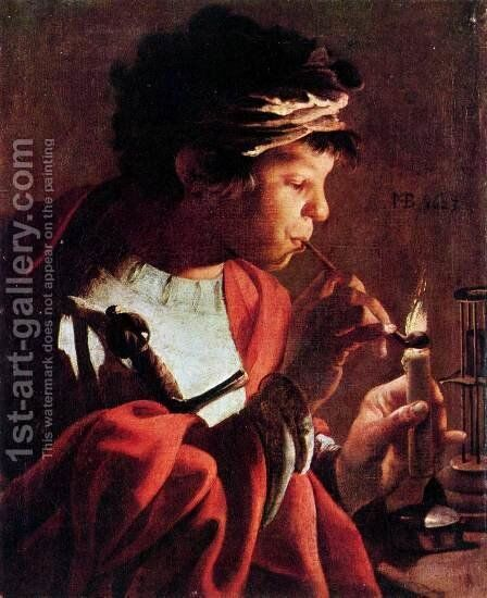 Boy Lighting a Pipe 1623 by Hendrick Terbrugghen - Reproduction Oil Painting