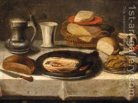 Still Life Of A Pewter Plate With A Jan Steen Jug, A Cup, A Basket Of Bread, And A Dog On A Table by (after) Jacob Foppens Van Es - Reproduction Oil Painting