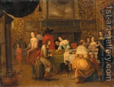 Interior With An Elegant Company Playing Backgammon by (after) Hieronymous Janssens - Reproduction Oil Painting