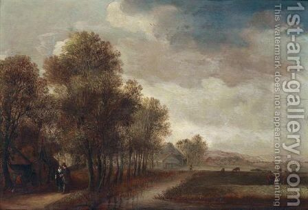 A Landscape With A Figures Walking Along An Avenue Of Trees, A Cottage Nearby by (after) Willem Gillisz. Kool - Reproduction Oil Painting