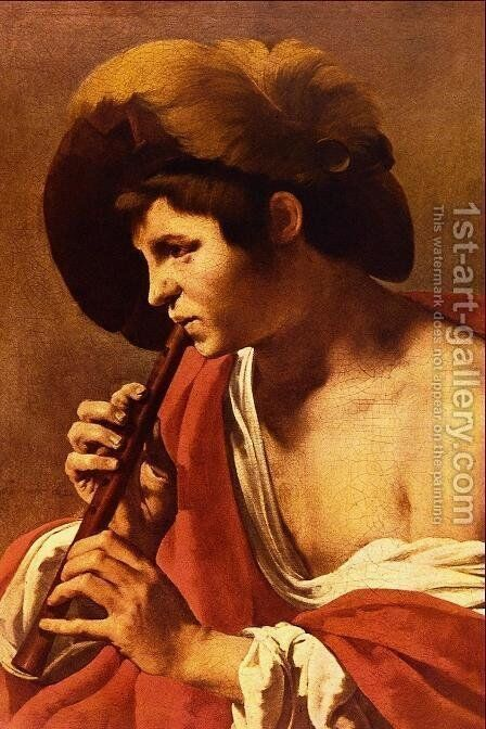 Boy Playing a Recorder 1621 by Hendrick Terbrugghen - Reproduction Oil Painting
