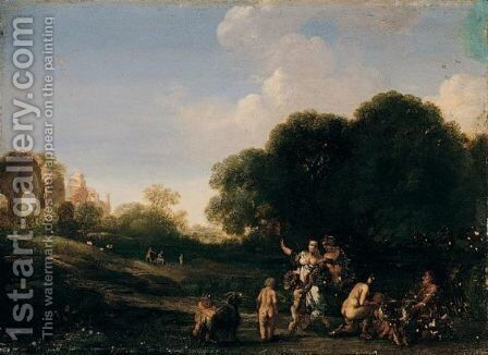 Classical Landscape With Nymphs, And The Goat Amalthea Being Suckled By The Infant Jupiter With The Temple Of Minerva Medica Beyond by (after) Bartholomeus Breenbergh - Reproduction Oil Painting