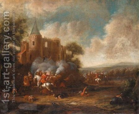 A Cavalry Engagement Before A Ruined Castle by Cornelis van Essen - Reproduction Oil Painting