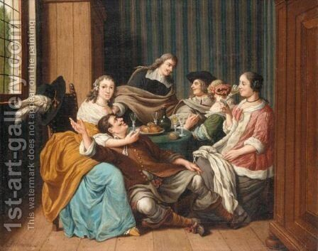 An Interior With A Merry Company by Jan Jozef, the Younger Horemans - Reproduction Oil Painting