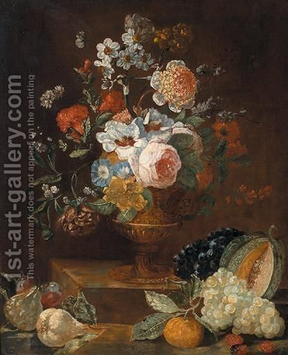 Still Life Of Flowers In A Gilt Vase, Upon A Stone Plinth, Together With Fruit by (after) Gaspar-Pieter The Younger Verbruggen - Reproduction Oil Painting