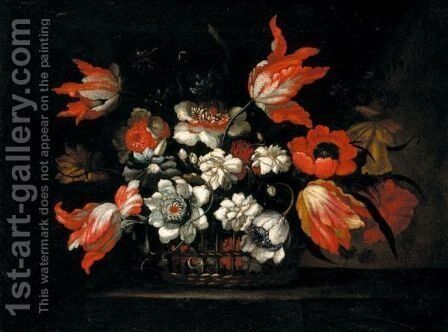 Still Life Of Tulips, Chrysanthemums, Poppies And Morning Glory In A Wicker Basket On A Stone Ledge by (after) Bartolome Perez - Reproduction Oil Painting