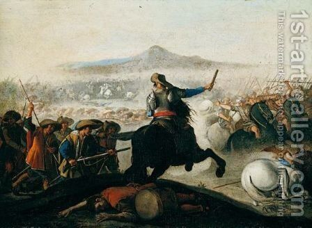A Battle Scene Between Christians And Turks by (after) Aniello Falcone - Reproduction Oil Painting