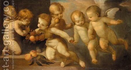 Putti Playing With A Basket Of Peaches by Guglielmo Caccia - Reproduction Oil Painting