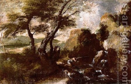 A Rocky Landscape With A Hunter And His Dog By A Waterfall by (after) Antonio Francesco Peruzzini - Reproduction Oil Painting
