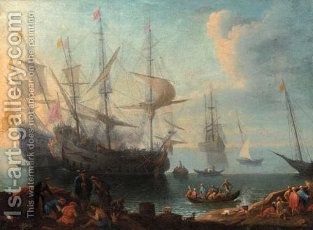 View Of A Mediterranean Harbour by (after) Adriaen Manglard - Reproduction Oil Painting