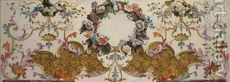 A Decorative Panel With A Garland Of Flowers And Baskets Of Fruits On Rococco Strapwork by (after) Sebastien-Francois Leriche - Reproduction Oil Painting