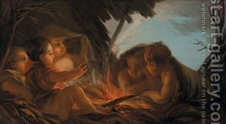 An Allegory Of Winter Putti Gathered Around An Open Fire by (after) Loo, Carle van - Reproduction Oil Painting