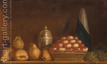 A Still Life Of Apples In A Wicker Basket, Together With Pears, Peaches And A Silver Sugar Caster by (after) Andre Bouys - Reproduction Oil Painting