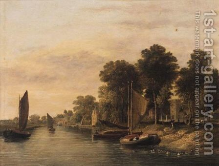 Barges On The River Waveney With Thorpe Church by (after) James Stark - Reproduction Oil Painting