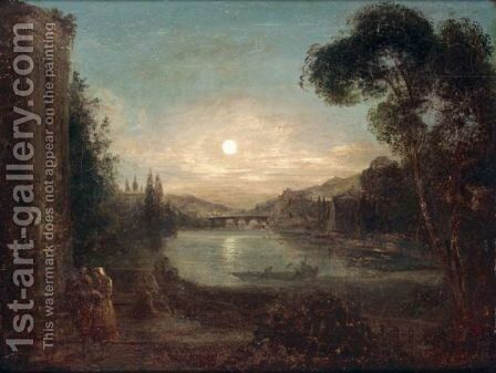 A Moonlight River Scene by (after) Samuel Pether - Reproduction Oil Painting