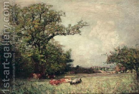 Cattle Resting With A Castle Beyond by Alexander Brownlie Docharty - Reproduction Oil Painting