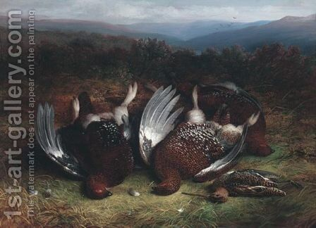 Cock Red Grouse And Snipe On The Moor by Abel Hold - Reproduction Oil Painting