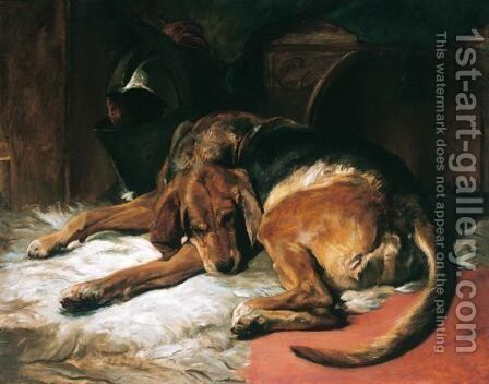 Sleeping Bloodhound by (after) Landseer, Sir Edwin - Reproduction Oil Painting