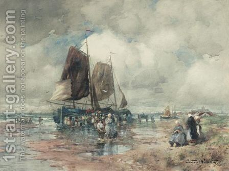 Unloading The Catch by Struan Robertson - Reproduction Oil Painting