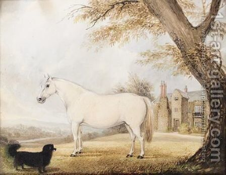 White Horse And Dog Outside Scawby Hall by English Provincial School - Reproduction Oil Painting
